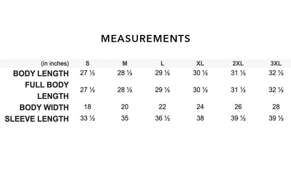 Long Sleeve Measurements