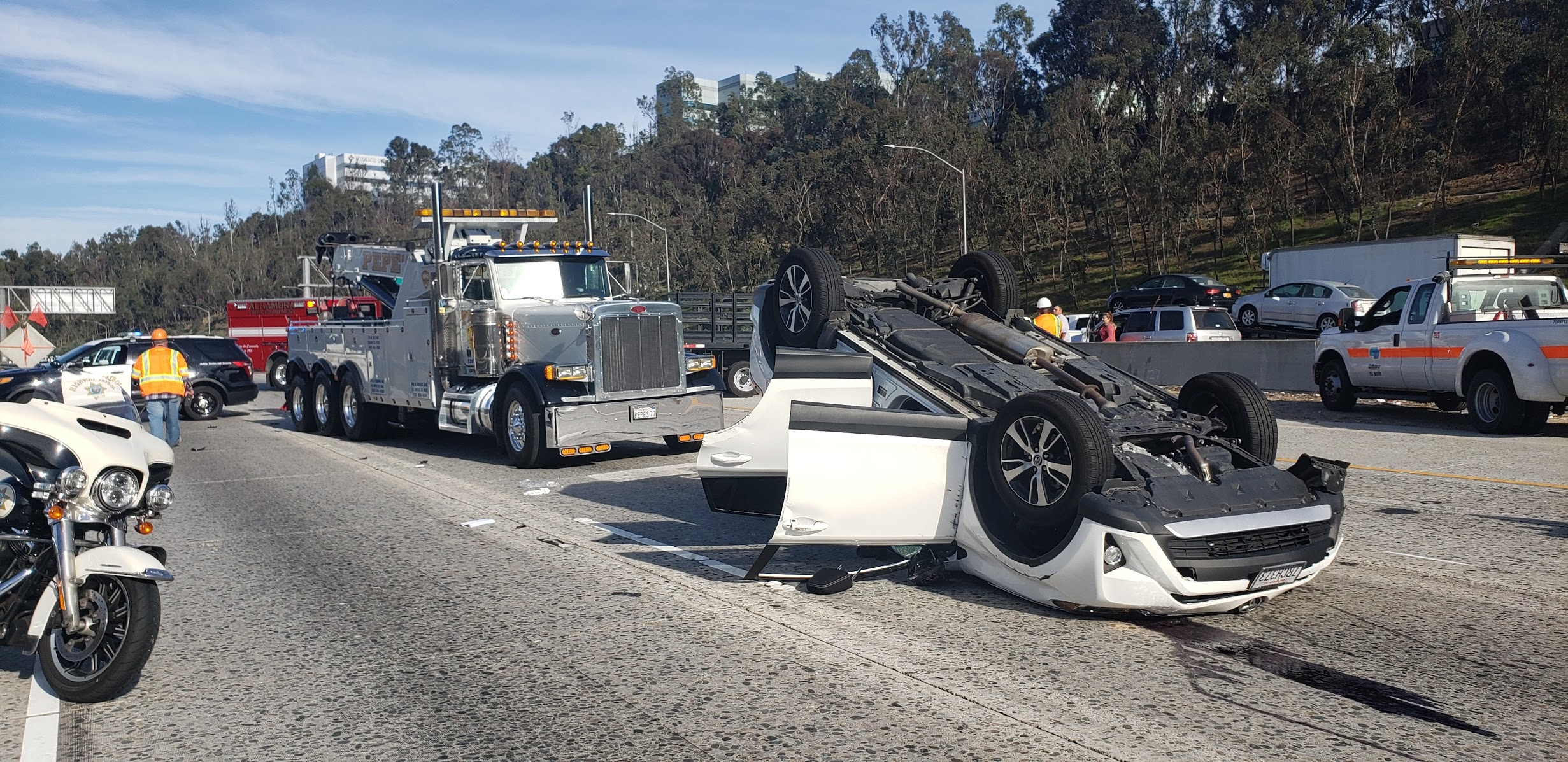 vehicle rollover on freeway