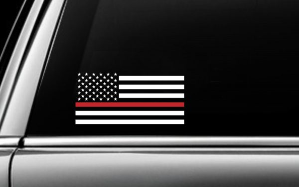 Red USA Striped Flag Decal