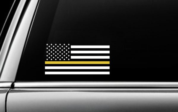 Yellow USA Striped Flag Decal