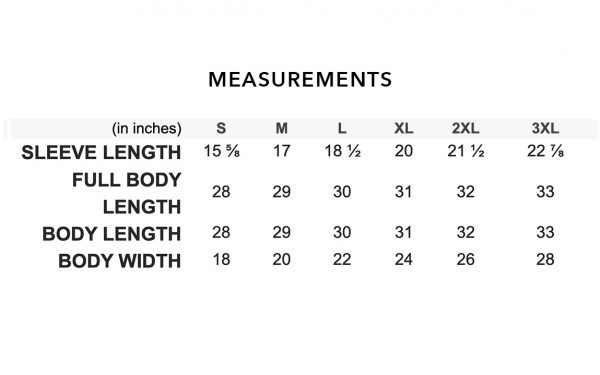 Short Sleeve Measurements